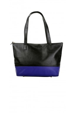 Augustin Rich Black and Royal Blue Tote