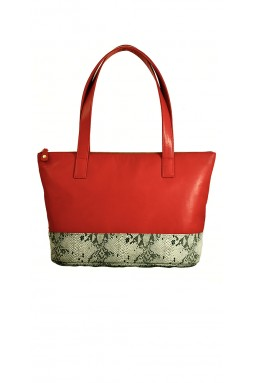 Augustin Red and Printed Python Tote