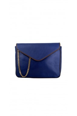Calvi Dark Blue and Brown Trim Crossbody