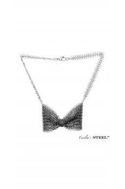 Cecilia's Steel Butterfly Bow Tie Necklace
