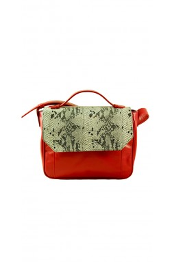 Esquirol Red and Printed Python Crossbody Bag