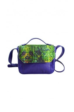 Esquirol Royal Blue and Printed Python Crossbody