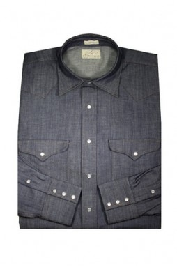 J Wingfield: Carolina Indigo Blue Washed Snap Shirt