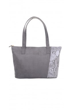 Jacobin Charcoal and Printed Metallic Python Handbag