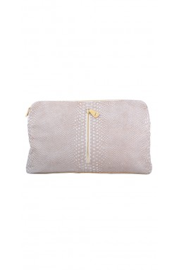 Jazz Beige and White Embossed Python Clutch