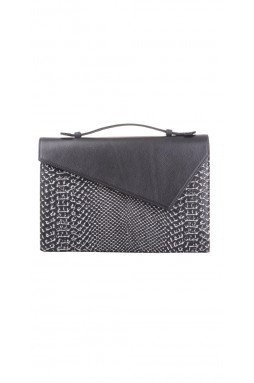 Lautrec Black and Printed Python Clutch