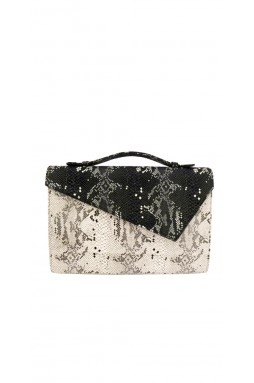 Lautrec Black and White Printed Python Clutch