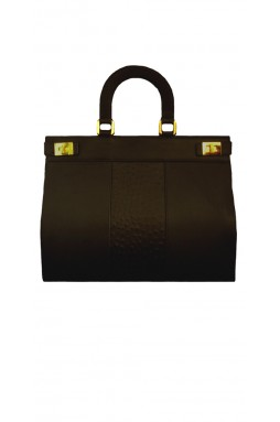 Pearl Rich Black and Embossed Ostrich
