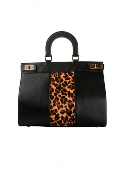 Pearl Rich Black and Cheetah Handbag